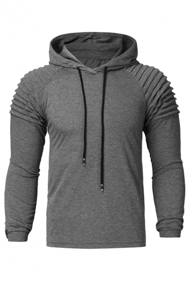 Street Style Pleated Detail Long Sleeve Whole Colored Drawstring Hoodie for Men