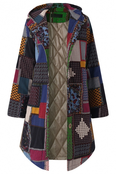 Thick Ethnic Long Sleeve Hooded Geo Patterned Button Down Oversize Midi Coat for Women