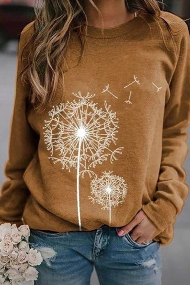 Trendy Girls' Long Sleeve Crew Neck Dandelion Printed Relaxed Fit Pullover Sweatshirt