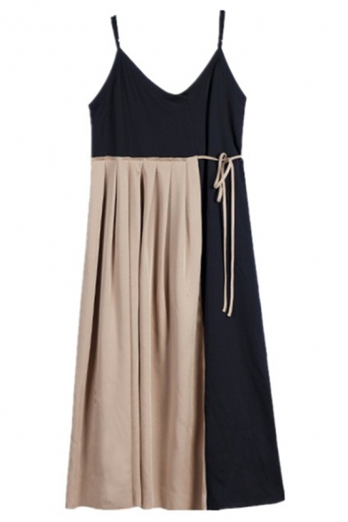 Trendy Khaki Sleeveless Bow Tie Waist Patched Midi Loose Pleated A-Line Cami Dress for Ladies