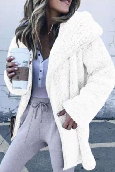 Classic Womens Sherpa Jacket Solid Color Mid-Length Turn down Collar Loose Fit Long Sleeve Casual Jacket