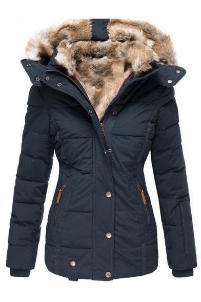 Women's Basic Winter Long Sleeve Hooded Button Zip Front Pockets Side Fluff liner Slim Fit Plain Puffer Coat
