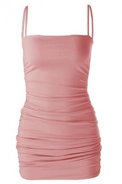 Womens Fashionable Plain Spaghetti Straps Fitted Mini Bandage Slip Dress for Nightclub