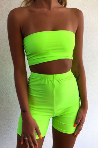 Womens Sexy Plain Strapless Bandeau Top & Shorts Two Piece Skinny Set, Black;green;orange;pink, LM574609