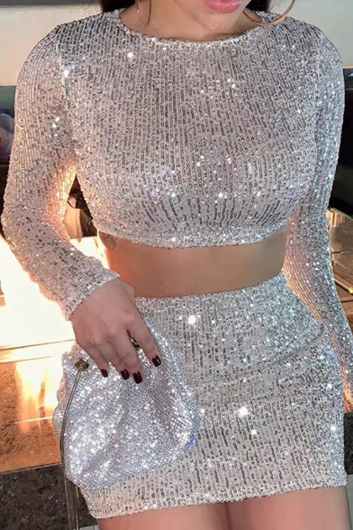 Womens Stylish Plain Silver Sequined Long Sleeve Crop Top & Mini Skirt Glitter Two Piece Set, LM575239