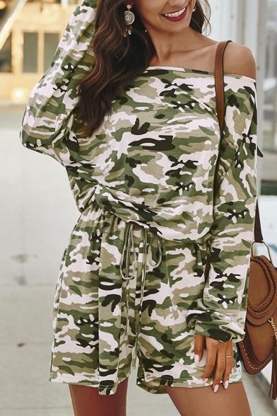 Designer Ladies' Long Sleeve Off the Shoulder Camo Printed Tied Waist Loose Jumpsuit