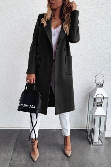 Fancy Chic Womens Plain Long Sleeve Lapel Neck Pockets Side Long Loose Wool Coat