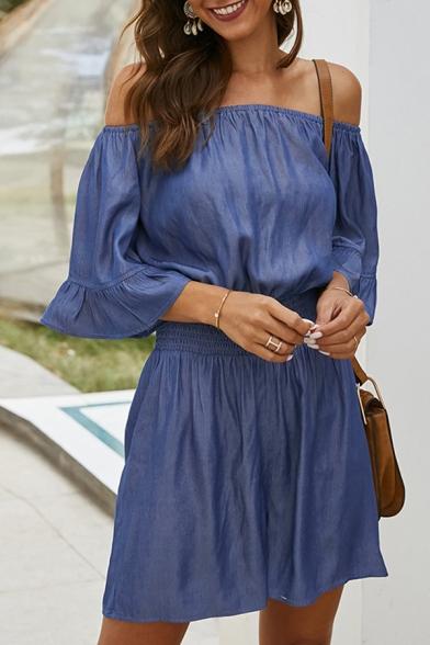 Pretty Girls' Royal Blue Short Sleeve Off the Shoulder Gather Waist Loose Fit Jumpsuit