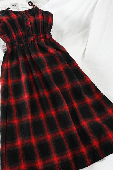 Pretty Girls' Sleeveless Button Front Plaid Pattern Midi Pleated A-Line Cami Dress, Black;red;yellow, LM586871