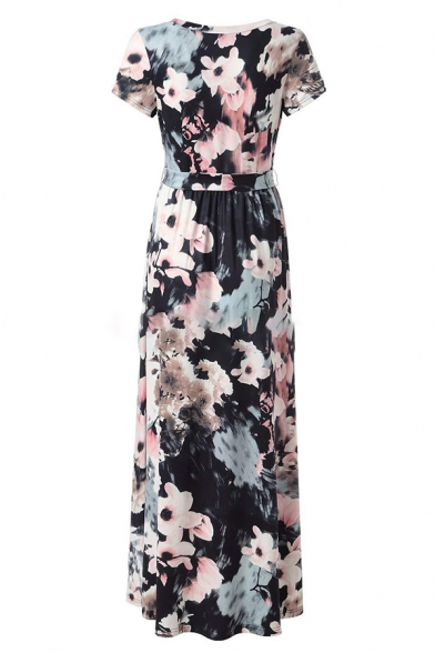 Pretty Ladies' Short Sleeve Surplice Neck All Over Floral Printed Maxi Pleated Dress