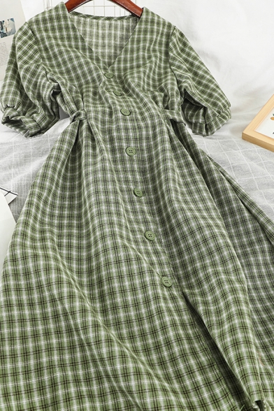 Women's Popular Short Sleeve V-Neck Plaid Printed Button Down Long A-Line Dress