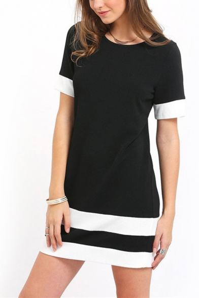 Classic Color-Block Stripe Printed Short Sleeves Crewneck Black and White Mini T-Shirt Dress