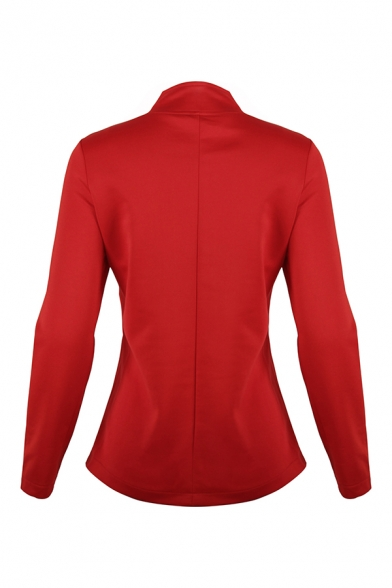 Cool Girls' Long Sleeve Stand Collar Double Breasted Zipper Front Plain Slim Fit Jacket