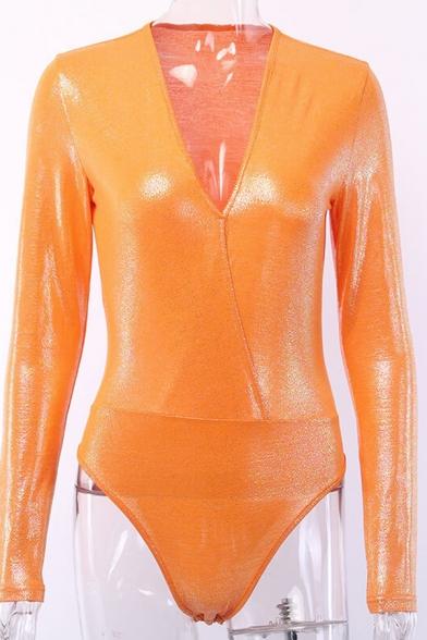 Ladies Popular V-Neck Long Sleeves Orange Sparkle Leotard Plain Bodysuit
