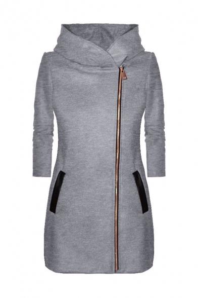 Stylish Ladies' Long Sleeve Hooded Zipper Front Pockets Side Plain Fitted Longline Jacket