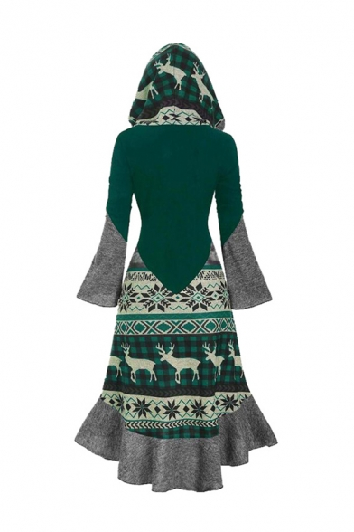 Tribal Style Colorblocked Elk Printed Bell Sleeve Button Down High Low Hooded Ruffle Dress