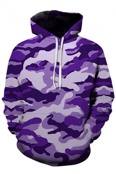 Classic Camouflage 3D Printed Long Sleeves Pouch Pocket Drawstring Hoodie