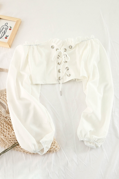 Female Trendy Solid Chiffon Stringy Selvedge Embellished Off Shoulder Lace-Up Crop Blouse