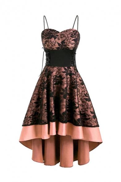 Sexy Fashion Floral Lace Patch Lace-Up Gathered Waist Asymmetric Hem Color Block Midi Strap Dress