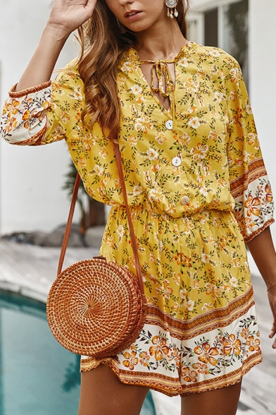 Beach Women's Three-Quarter Sleeve Tied Neck Button Front All-Over Floral Print Relaxed Jumpsuit