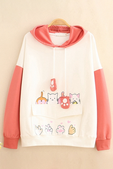 Lovely Claw Pendant Drawstring Colorblock Long Sleeves Cartoon Cat Printed Casual Hoodie