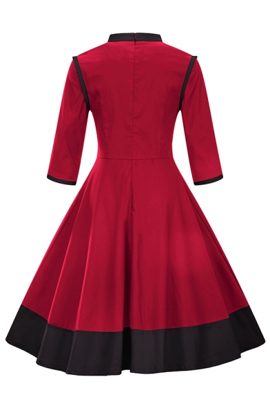 Chinese Style Three-Quarter Sleeve Mandarin Collar Frog Button Contrasted Maxi Pleated Flared Dress in Red