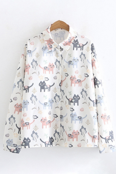 Fancy Leaf and Cat Pattern Long Sleeve Lapel Collar Button-Up White Oversized Shirt