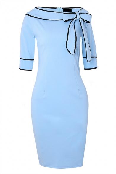 Formal Pretty Three-Quarter Sleeve Bow Tie Collar Zip Back Contrast Piped Slit Back Plain Midi Bodycon Dress for Women