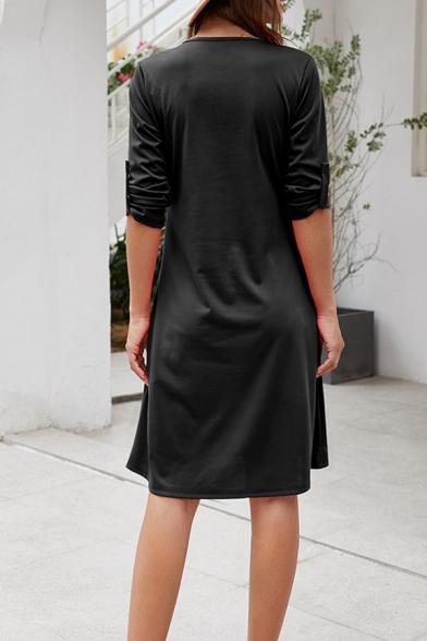 Womens Leisure Plain 3/4 Length Sleeve V-Neck Zipper Front Midi A-Line Dress