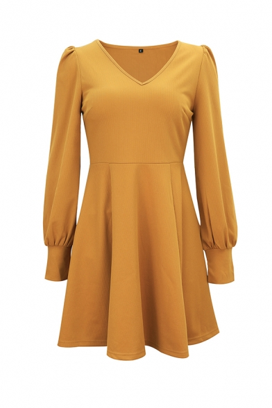 Ladies Commuting Fashion Solid Color V-Neck Long Sleeve Gathered Waist Midi A-Line Dress