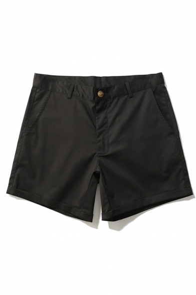 Men's Simple Plain Zipper Fly Relaxed Fit Daily Shorts for Summer