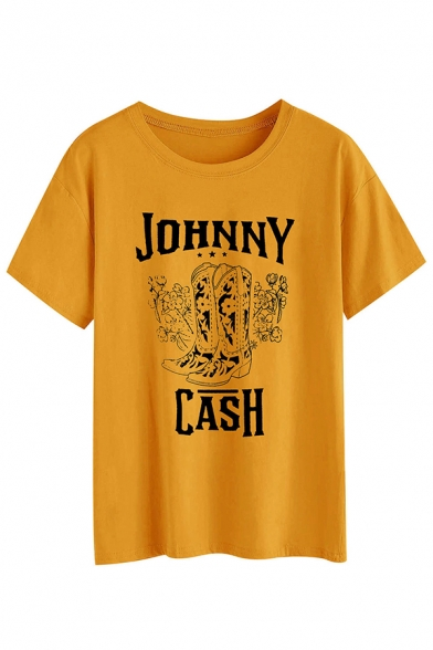 New Stylish Boots Letter JOHNNY CASH Printed Short Sleeves Round Neck Graphic T-Shirt