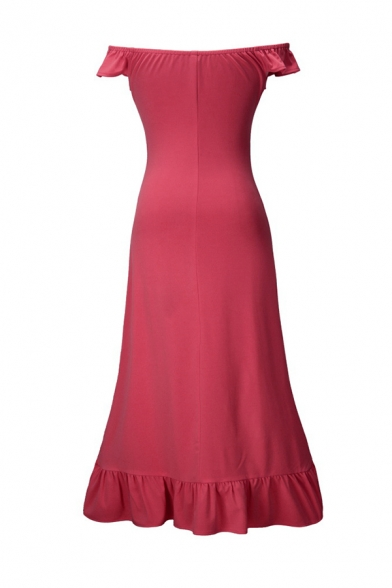 Sexy Ruffle Embellished Off Shoulder Ruched Front High Low Hem Solid Color Gown Dress