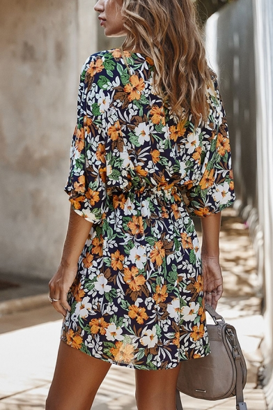 Womens Elegant Floral Printed V-Neck Half Sleeve Button Front Casual Mini Dress