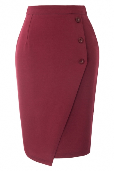 Formal Ladies' High Waist Button Front Midi Plain Bodycon Wrap Work Skirt, Black;red;royal blue, LM584742
