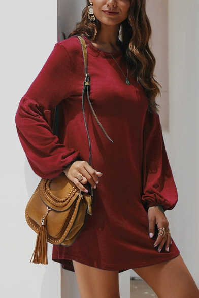 Ladies Plain Round Neck Lantern Sleeves Curved Hem Mini Knit T-Shirt Dress