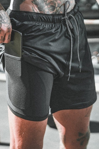 Mens Designer Double Layered Pocket Inside Drawstring Waist Sport Training Active Shorts
