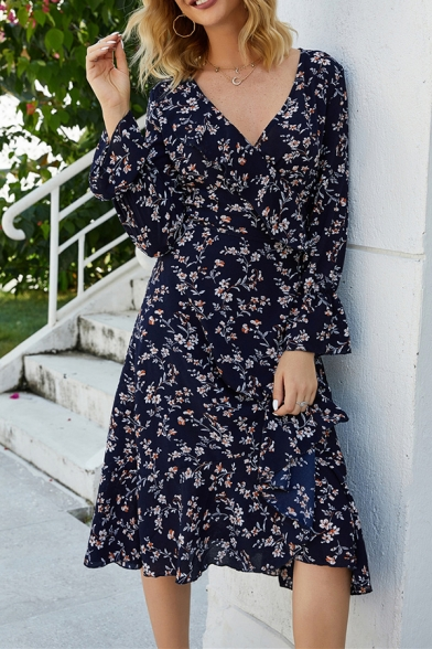 Navy Blue Chic Floral Printed Long Sleeves Surplice Neck Streetwear Midi Wrap Dress for Women