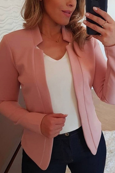 Popular Ladies' Long Sleeve Stand Collar Slim Fit Plain Draped Blazer