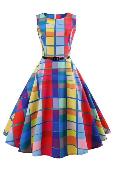 Amazing Fancy Ladies' Sleeveless Boat Neck Zipper Back Plaid Print Belted Mid Pleated Flared Dress in Blue