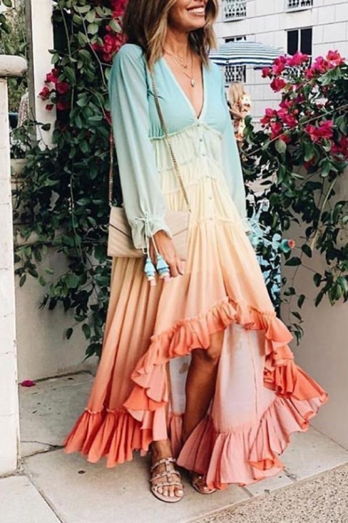 Exclusive Color Gradient V-Neck Tie Cuff Long Sleeves Button Front Asymmetric Ruffle Dress
