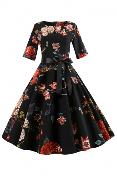 Retro Ladies' Three-Quarter Sleeve Round Neck All Over Floral Printed Bow Tie Waist Mid Pleated Flared Dress