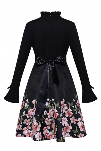 Retro Women's Long Sleeve Stand Collar Bow Tie Waist Floral Printed Ruffle Trim Mid Pleated Flared Dress