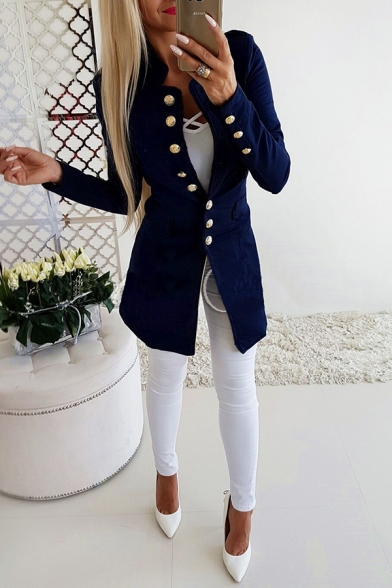 Elegant Ladies' Plain Long Sleeve Stand Collar Button Down Fitted Long Jacket