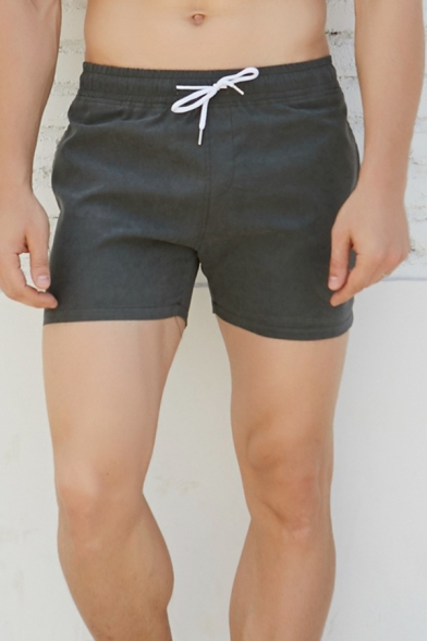 Solid Color Drawstring Waist Slim Fit Quick Drying Swim Shorts for Men