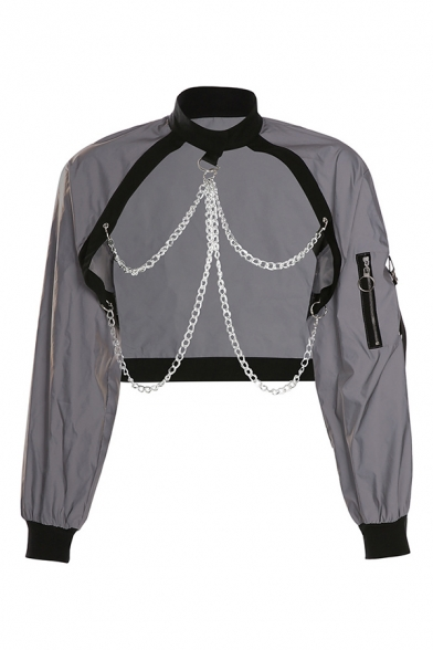 Cool Fashion Gray Zipper Long Sleeve Chain Decoration Cut-Out Reflective Jacket Crop Coat