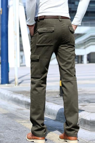 Men's Casual Solid Color Multi Pockets Wide-Leg Pants Thick Cargo Pants