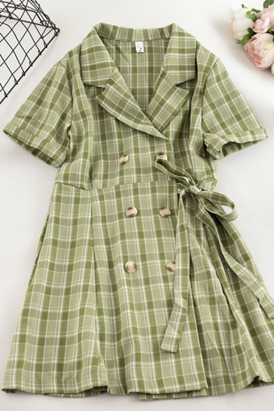 Pretty Girls' Roll Up Sleeve Lapel Neck Double Breasted Plaid Print Bow Tie Waist Midi A-Line Dress