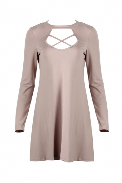 Sexy Fashion Plain Crisscross Hollow Out Round Neck Long Sleeves Mini A-Line Dress