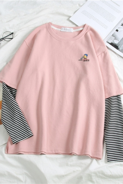Womens Lovely Cartoon Letter Printed Stripe Patched Long Sleeves Relaxed Fit Graphic T-Shirt
